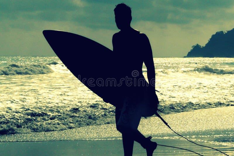 Silueta de la persona que practica surf con un tablero en una tarde de la puesta del sol en el parque nacional Costa Rica de Manu fotografía de archivo libre de regalías
