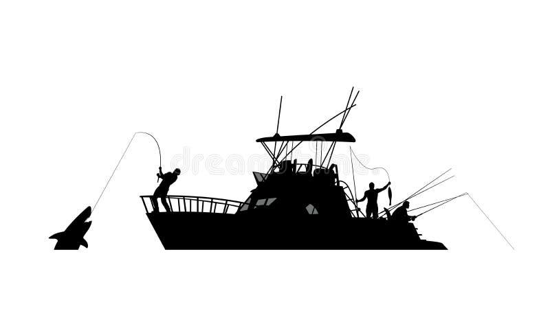 Silueta de la pesca del barco libre illustration