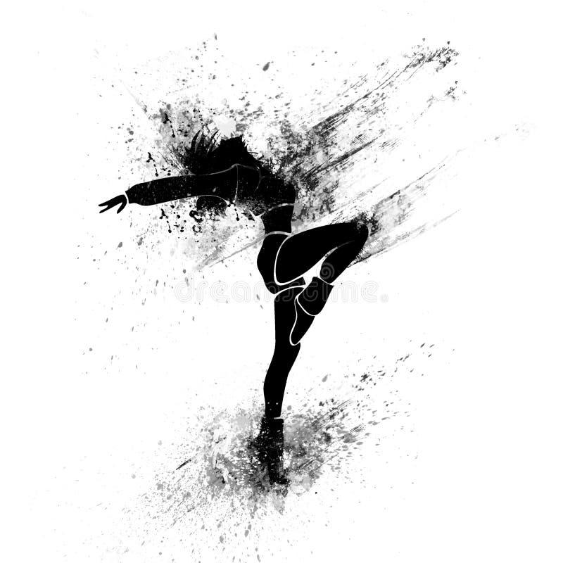 Silueta de la pintura del chapoteo del negro de la muchacha de baile ilustración del vector