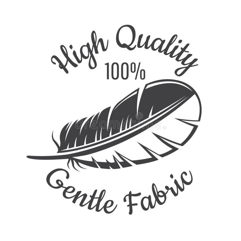 Silueta de la pluma Logotipo para la materia textil sensible, tela, paño stock de ilustración
