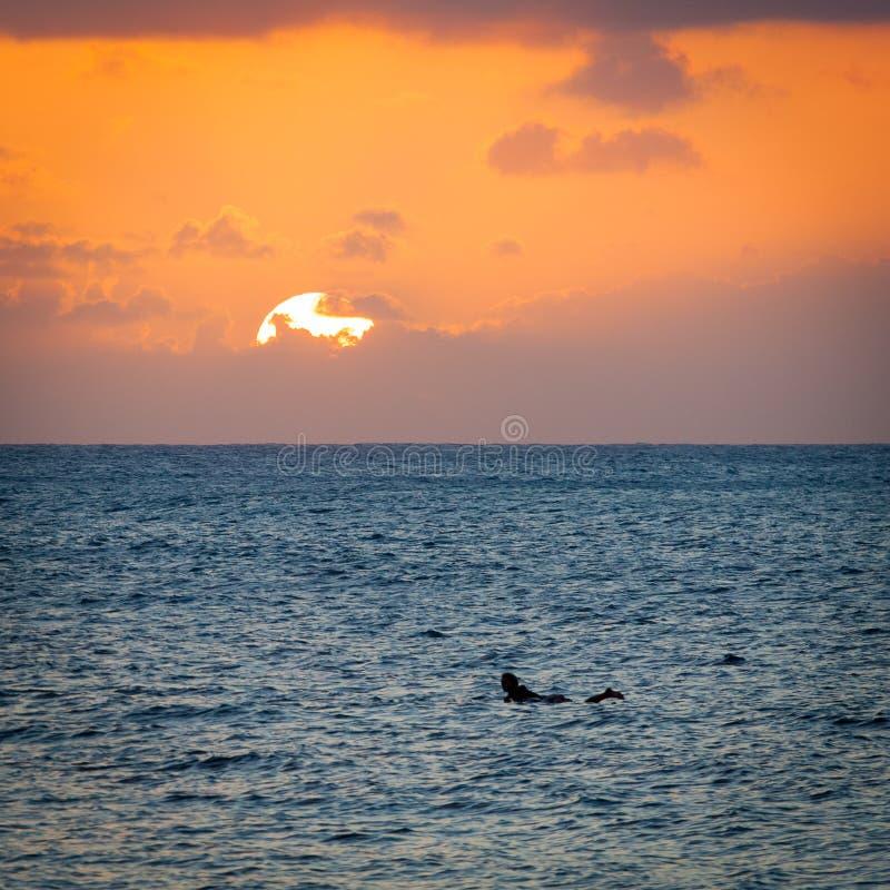 Silueta de la puesta del sol de la persona que practica surf foto de archivo