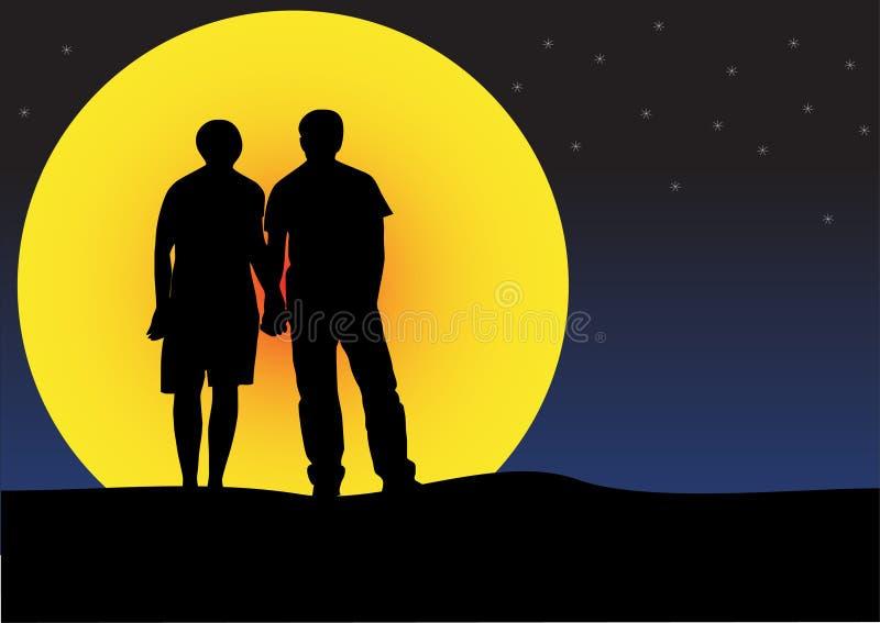 Silueta de la puesta del sol de los pares stock de ilustración