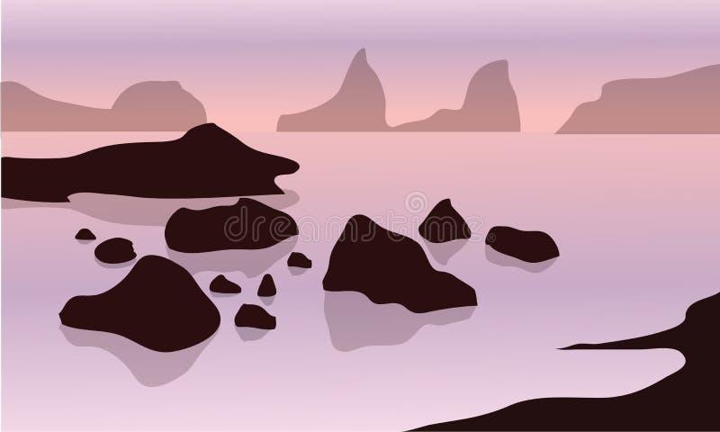 Silueta de la roca en playa ilustración del vector