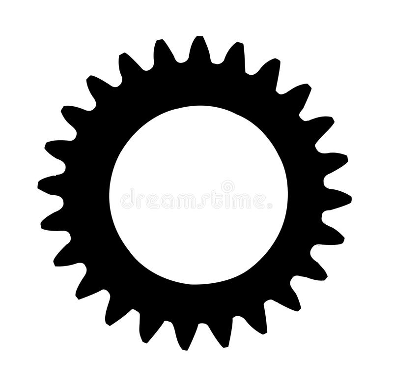 Silueta de la rueda dentada aislada en un fondo blanco libre illustration