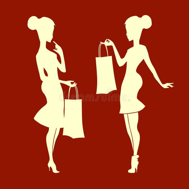Silueta de la señora con el bolso stock de ilustración
