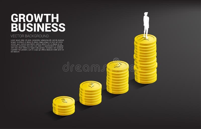 Silueta de la situación del hombre de negocios encima del gráfico del crecimiento con la pila de moneda ilustración del vector