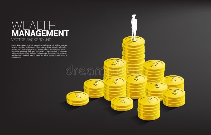 Silueta de la situación del hombre de negocios encima de la pila de moneda libre illustration