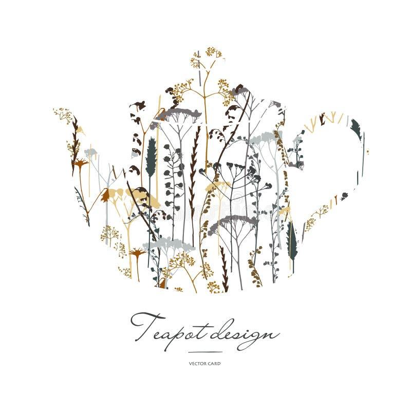 Silueta de la tetera con la impresión floral stock de ilustración