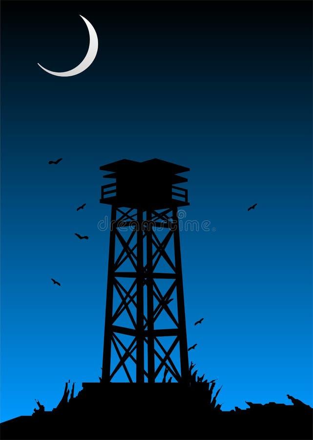 Silueta de la torre del puesto de observación libre illustration