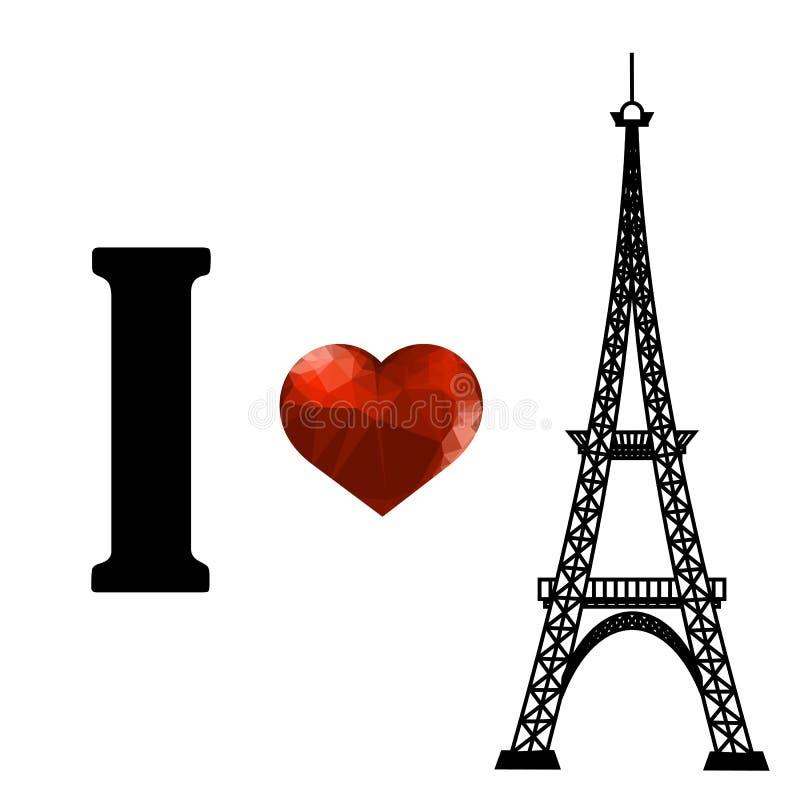 Silueta de la torre Eiffel y corazón poligonal rojo stock de ilustración