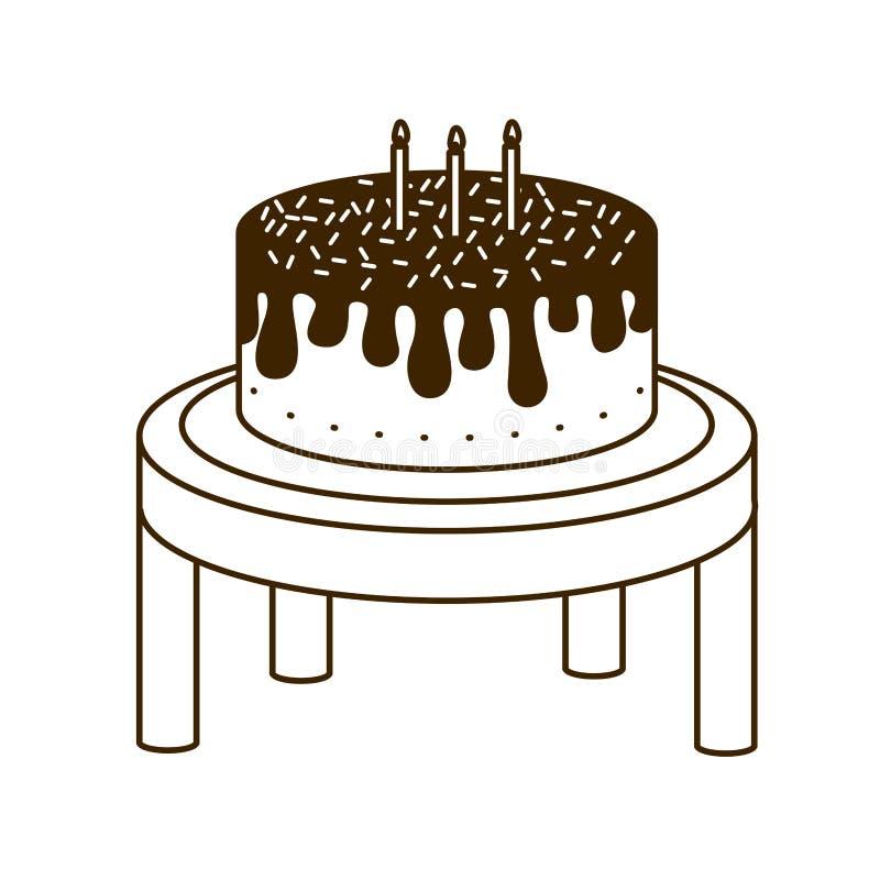 Silueta de la torta en la tabla de madera de feliz cumpleaños libre illustration