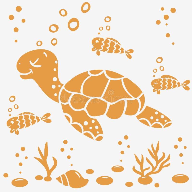 Silueta de la tortuga ilustración del vector