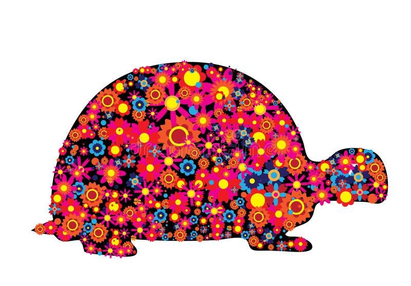 Silueta de la tortuga con las flores y los círculos coloridos stock de ilustración