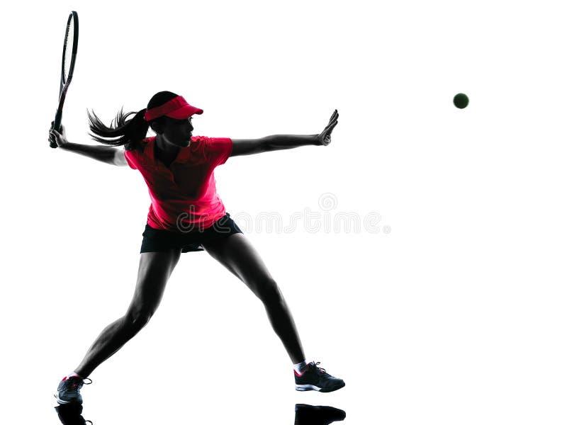 Silueta de la tristeza del jugador de tenis de la mujer fotos de archivo