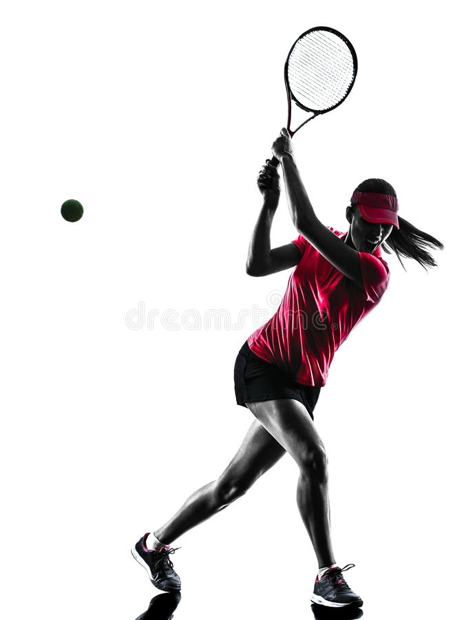 Silueta de la tristeza del jugador de tenis de la mujer imagenes de archivo