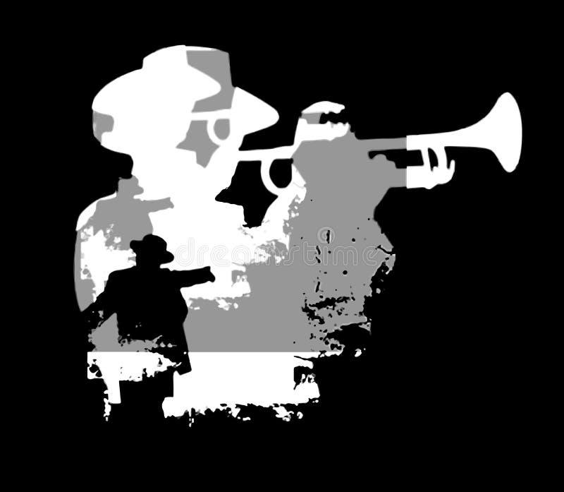 Silueta de la trompeta fotos de archivo libres de regalías