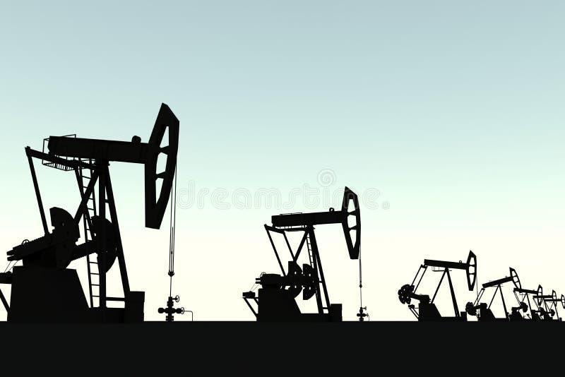 Silueta de la unidad de bombeo del campo petrolífero stock de ilustración