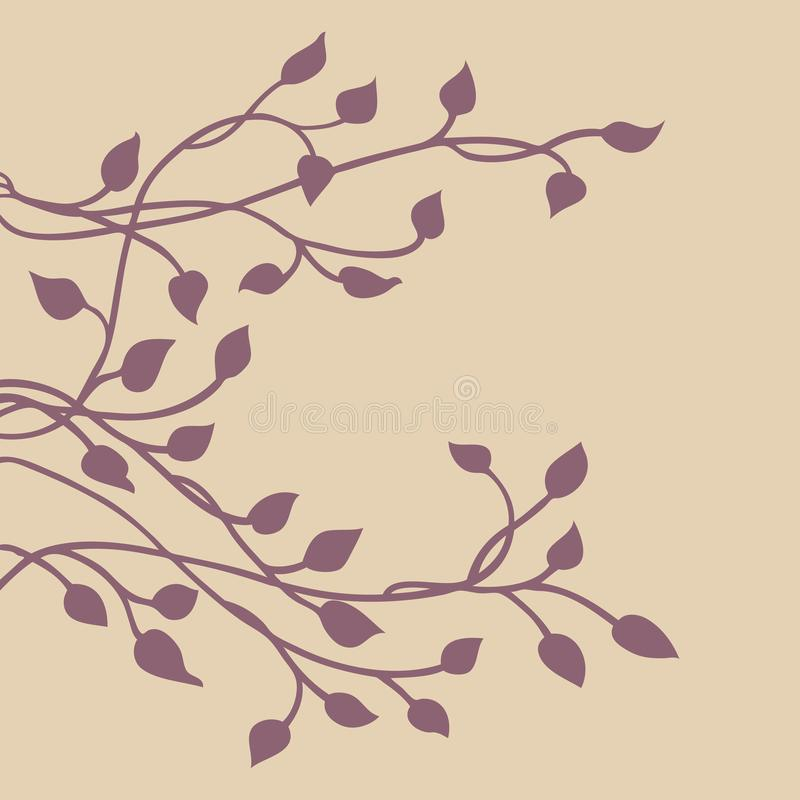 Silueta de la vid de la hiedra, elemento lateral decorativo floral púrpura elegante del diseño de la frontera de hojas, diseño bo ilustración del vector