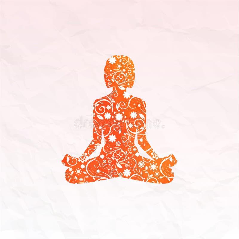 Silueta de la yoga imagenes de archivo
