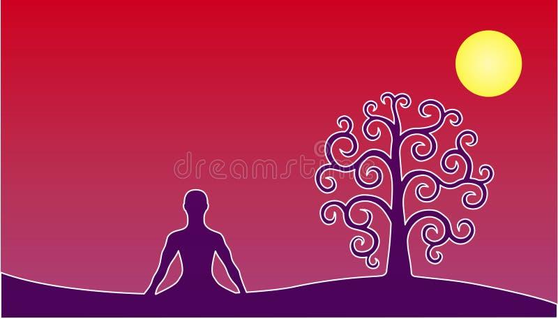 Silueta de la yoga en la posición de loto y el árbol de la vida contra la perspectiva del cielo rojo y del sol la luna Vector stock de ilustración