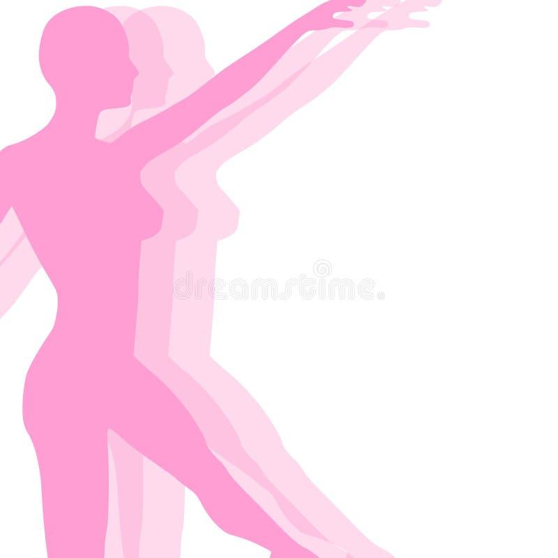 Silueta de la yoga o de la danza de la aptitud ilustración del vector