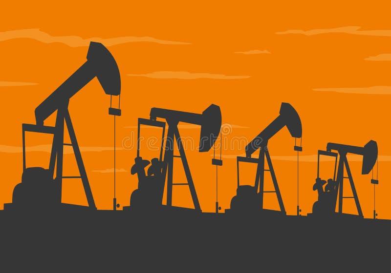 Silueta de las bombas de aceite libre illustration
