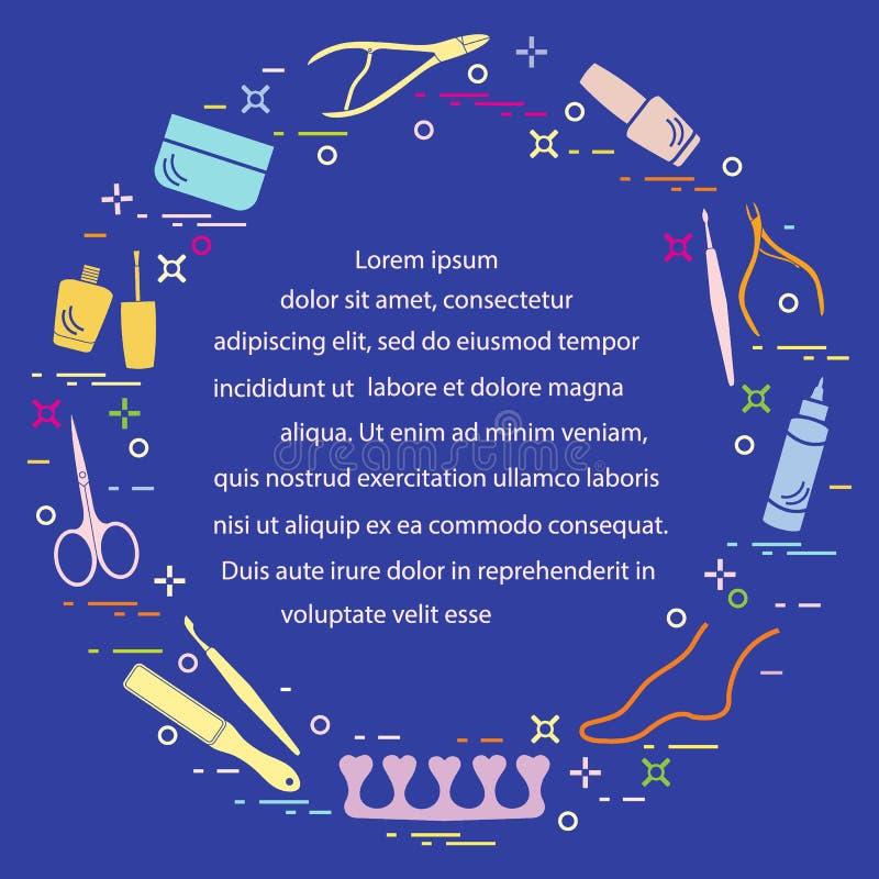 Silueta de las herramientas de la manicura y de la pedicura y productos para la belleza y el cuidado Dise?e el elemento para la p libre illustration