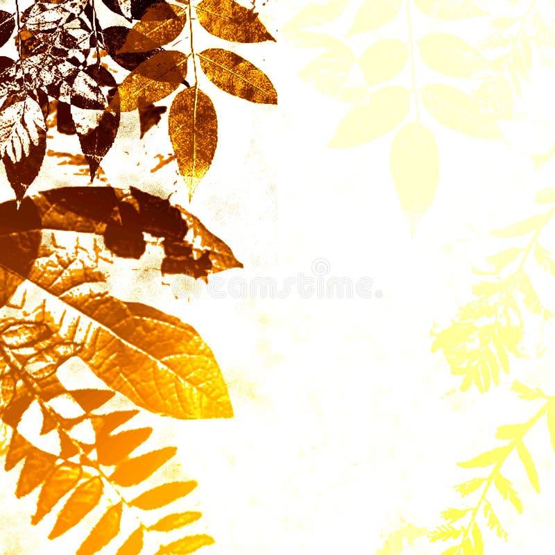 Silueta de las hojas de otoño de Grunge ilustración del vector