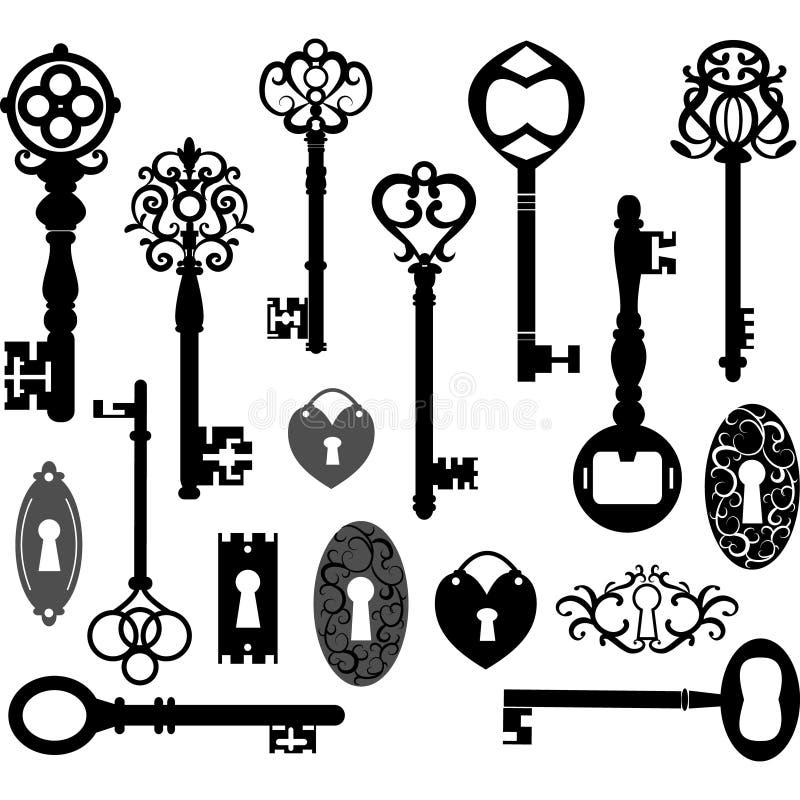 Silueta de las llaves ilustración del vector