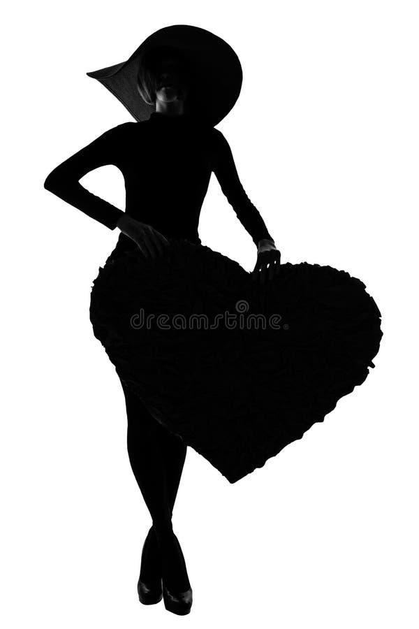 Silueta de las muchachas de la moda imagen de archivo libre de regalías