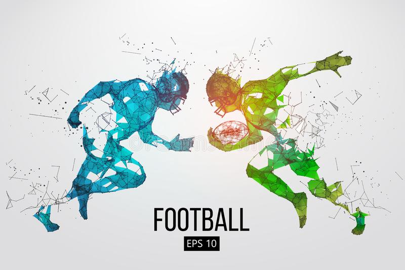 Silueta de las partículas, de las líneas y de los triángulos de un jugador de fútbol americano en fondo rugbi Ilustración del vec stock de ilustración