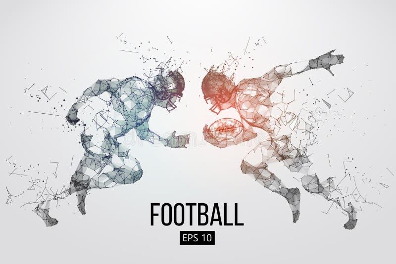 Silueta de las partículas, de las líneas y de los triángulos de un jugador de fútbol americano en fondo rugbi Ilustración del vec libre illustration
