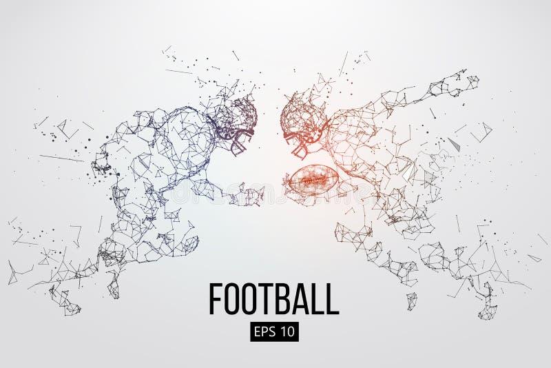 Silueta de las partículas, de las líneas y de los triángulos de un jugador de fútbol americano en fondo rugbi Ilustración del vec ilustración del vector