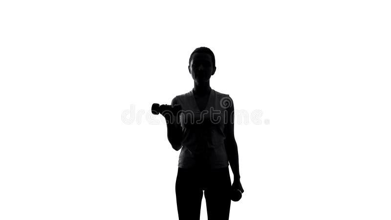Silueta de las pesas de gimnasia de elevación del atleta de sexo femenino para perder el peso, el deporte y el entrenamiento imagen de archivo