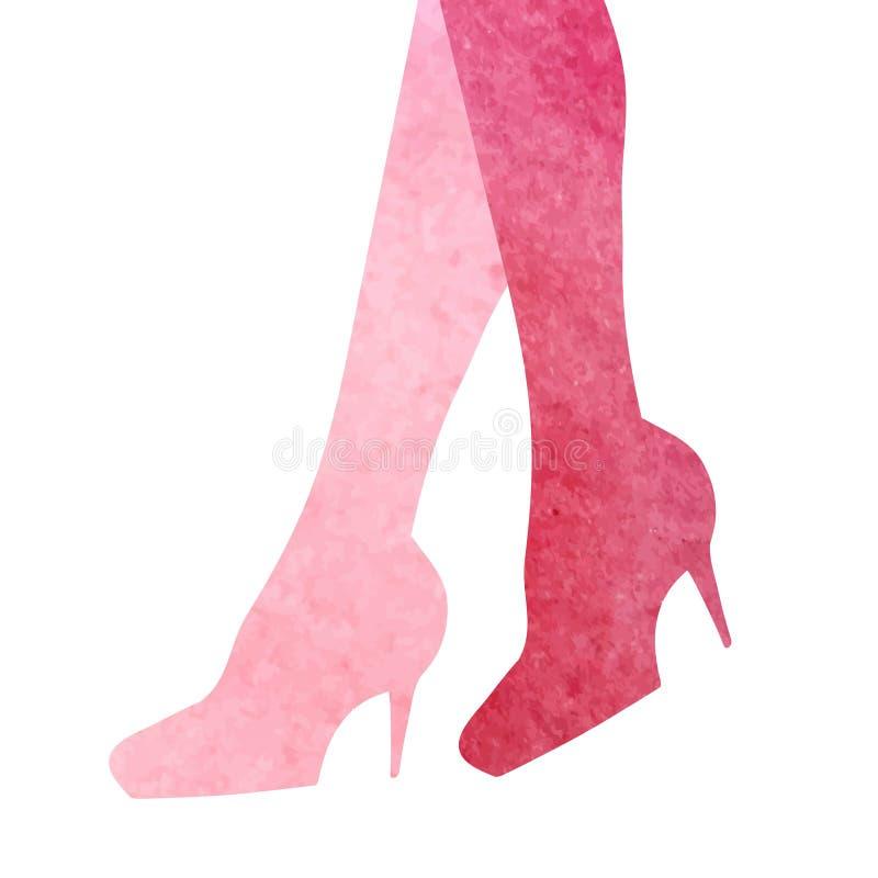 Silueta de las piernas de la mujer Ejemplo de la acuarela en colores rosados Vector la muestra stock de ilustración