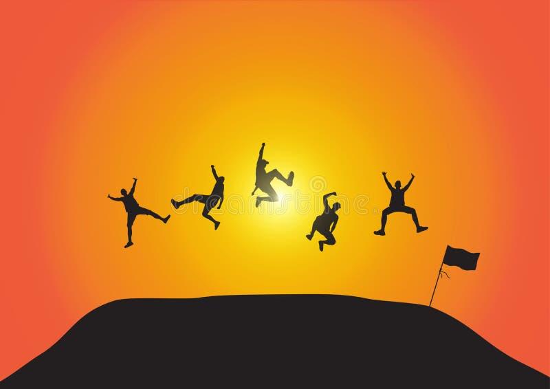 Silueta de los amigos que saltan sobre la colina en fondo de oro de la salida del sol, concepto feliz de la vida, el ganar, acert ilustración del vector