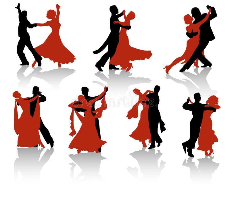 Silueta de los bailarines del salón de baile ilustración del vector