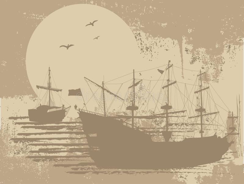 Silueta De Los Barcos Piratas Ilustración del Vector - Ilustración ...