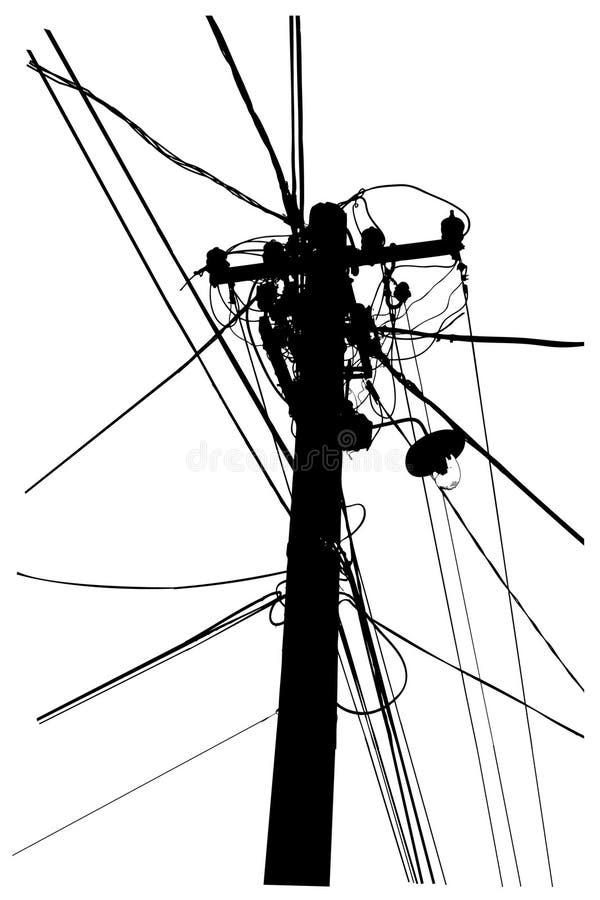 Silueta de los cables de arriba de la corriente eléctrica libre illustration