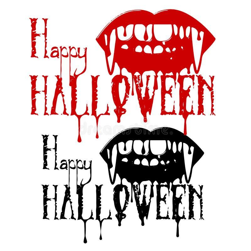 Silueta de los dientes del ` un s del vampiro con sangre, y la inscripción ilustración del vector