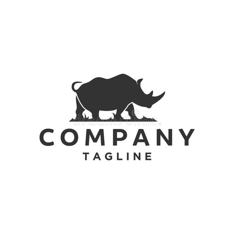 Silueta de los diseños del logotipo del rinoceronte stock de ilustración