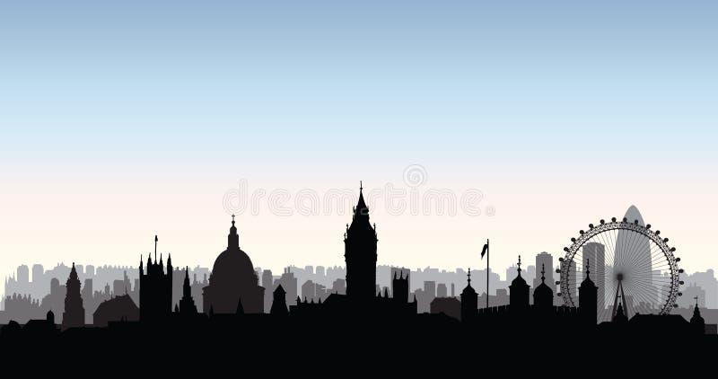 Silueta de los edificios de la ciudad de Londres Paisaje urbano inglés Londo ilustración del vector