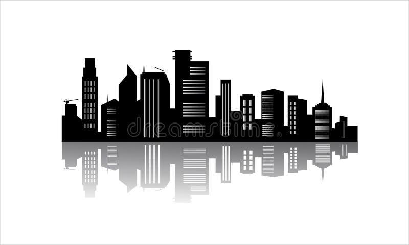 Silueta de los edificios de oficinas con la reflexión ilustración del vector
