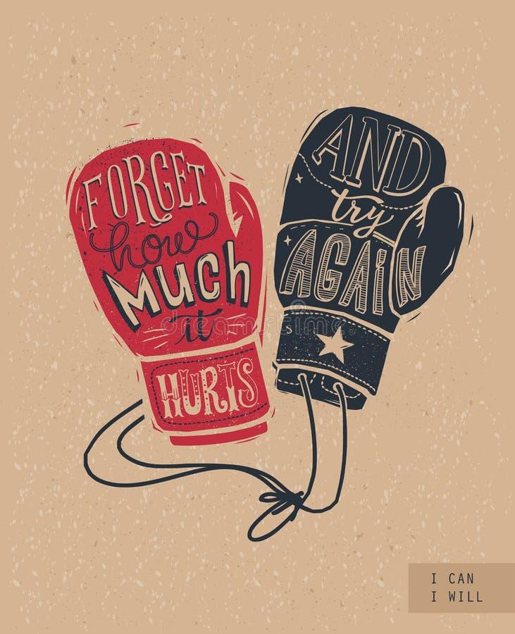 Silueta de los guantes de boxeo con las letras manuscritas interiores y fondo de papel del arte Concepto de la lucha y de la luch stock de ilustración