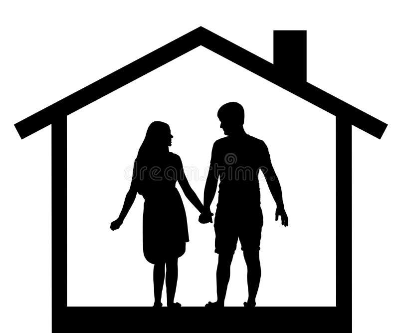 Silueta de los hombres y de las mujeres de los pares en la casa, vector libre illustration