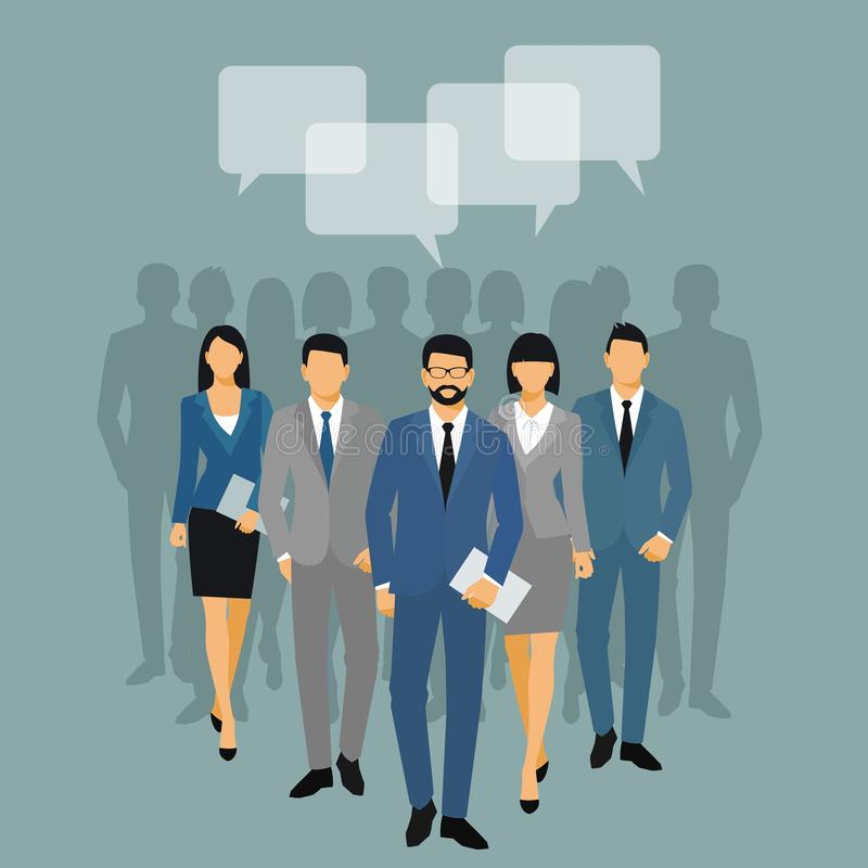 Silueta de los hombres y de las mujeres de negocios los hombres de negocios del equipo agrupan para sostener carpetas del documen ilustración del vector