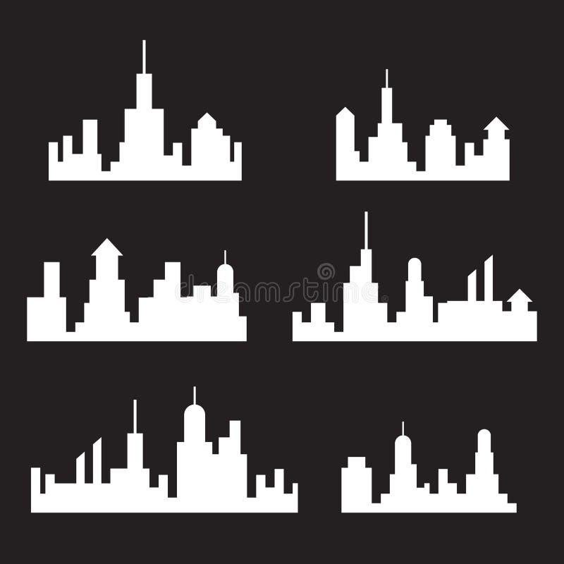 Silueta de los horizontes de la ciudad, sistema del paisaje urbano, blanco aislado en el fondo negro, ejemplo del vector libre illustration