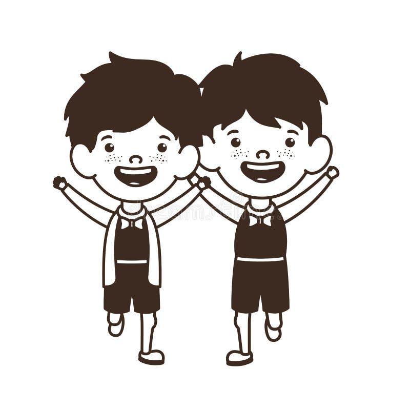 Silueta de los muchachos de los estudiantes que se colocan en el fondo blanco ilustración del vector