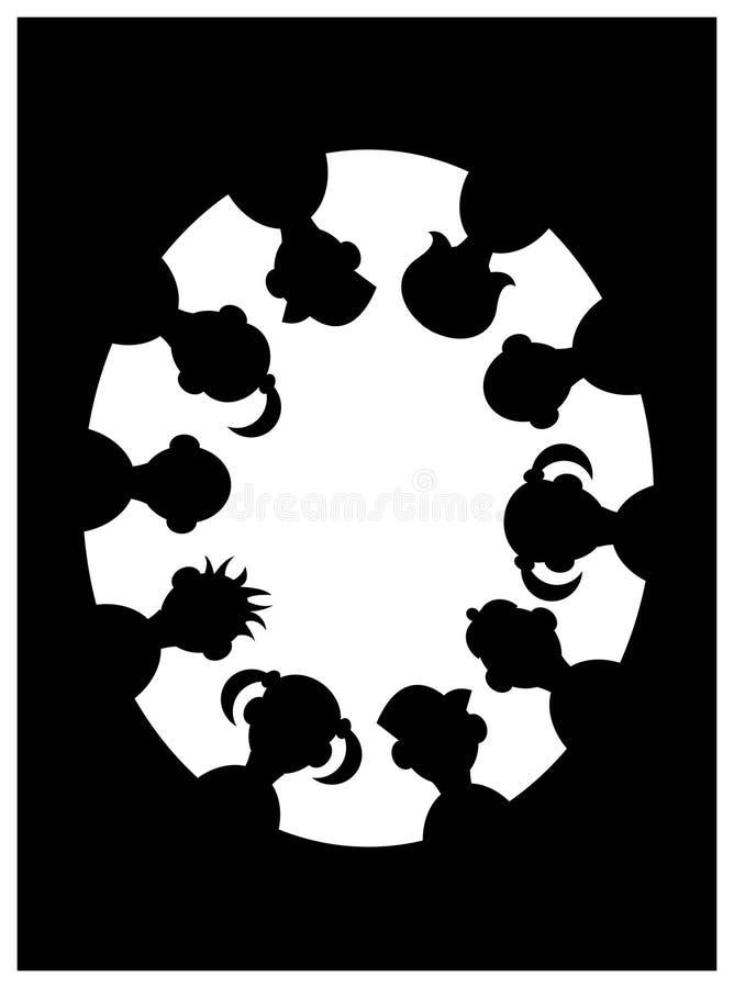 Silueta de los niños stock de ilustración
