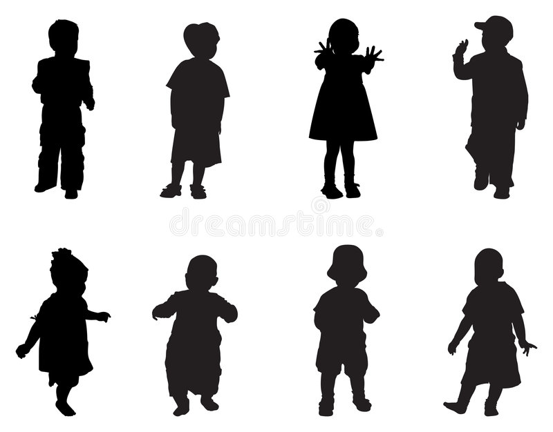 Silueta de los niños libre illustration